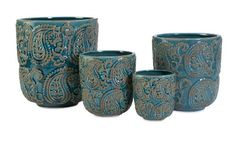 IMAX 643294 Paisley Planters Blue Set of 4 ** Check out the image by visiting the link.