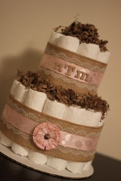 Mini 2 Tier Shabby Chic Diaper Cake Burlap by BabeeCakesBoutique, $28.00