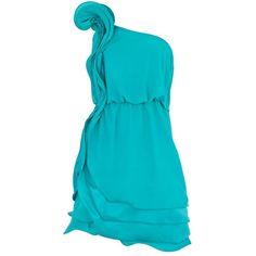Green rose corsage one shoulder dress
