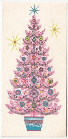 Vintage Greeting Card Christmas Decorated PINK Tree Deer Crest Grant Mid-Century