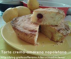 """Torta crema-amarena napoletana http://blog.giallozafferano.it/lacucinadimilena/torta-crema-amarena-napoletana/ La torta crema-amarena napoletana è la versione """"grande"""" del pasticciotto napoletano,dolce tipico partenopeo che si trova nelle migliori pasticcerie della bella Napoli.  E' chiamata anche Pizza con la crema. Potevo mai io,amante delle tradizioni culinarie napoletane e campane,non prepararla? E poi è buona,buona da impazzire."""