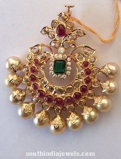 Stunning South sea pearl pendant studded with precious polki stones, rubies and emeralds Jewelry Design Earrings, Gold Earrings Designs, Gold Jewellery Design, Pendant Jewelry, Gold Designs, Silver Jewellery, Bridal Jewelry, Beaded Jewelry, Locket Design