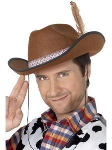 Fancy Dress Accessory #US Black Felt Cowboy Studded Hat