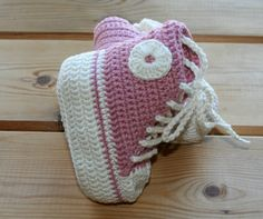 Organic, cotton, crochet, baby, girl, converse, style, shoes, boots, booties, pink, ecru, luxury, girls converse high tops, 3- 6M etsy gifts...