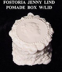 FOSTORIA White Milk Glass Jenny Lind Puff Box