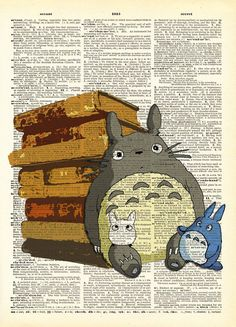 Totoro in the Library Book Lover Original Print on by AvantPrint,