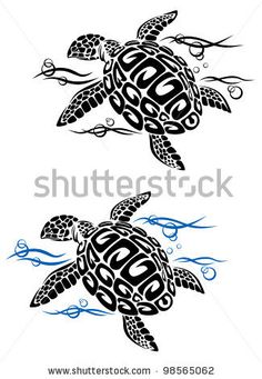 Turtle in sea water in cartoon style for tattoo or environment design. Vector version also avai...