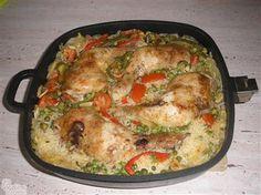Pečená kuřecí stehna na rýži