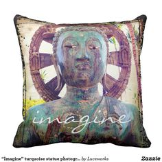 """Imagine"" turquoise statue photography pillow"