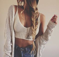Modern hippie sexy fishtail braid with boho chic crochet bralette top.