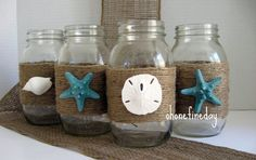 #NAUTICAL #MASON JAR #Vase #Seashell #Beach Wedding #Beach Decor Starfish Shabby chic ocean Glass Decoration