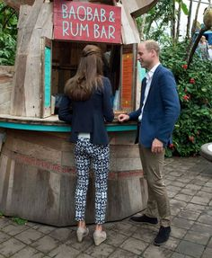 The couple enjoy a smoothie from a hut selling smoothies containing the African…