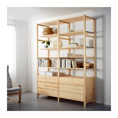 IKEA - IVAR, 2 section shelving unit with chest, Untreated solid pine is a durable natural material that can be painted, oiled or stained according to preference.You can move shelves and adapt spacing to suit your needs.You can personalize the furniture even more by staining or painting it your favorite color.
