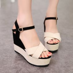 Cheap sandal woman shoes, Buy Quality fish head directly from China wedge sandals Suppliers: Hot summer 2017 sandals women spell color fish head shoes ultra heavy bottomed wedge sandals women's shoes Coral Sandals, Wedge Sandals, Wedge Shoes, Pretty Shoes, Cute Shoes, Mode Kimono, Baskets, Girls Heels, Designer Heels