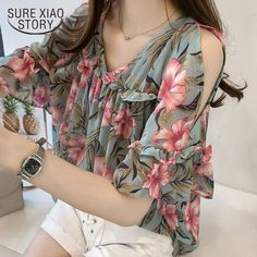 2018 new fashion sweet style women clothing printed casual plus size women tops short sleeved blouses loose women shirts 0615 40 Chiffon Blouses, Shirt Blouses, Chiffon Shirt, Plus Size Women's Tops, Summer Blouses, Sweet Style, Short Tops, Short Sleeve Blouse, New Fashion
