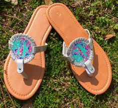 Monogram Interchangeable Disk Sandals with Simply Southern Patterns and Monogram by HeyYallandCo on Etsy