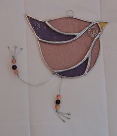 Stained Glass Funky Bird Suncatcher  - Pink and Mauve   £15.95