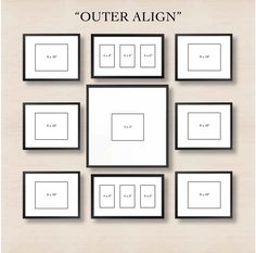 Picture Frames On Wall Layouts. Spiral Gallery Wall Layout Tip Start With Placing The Center Frame And Then Picture Frames On Layouts M Organisation Des Photos, Organization, Images Murales, Collage Mural, Pic Collage On Wall, Family Wall Collage, Collage Frames, Photowall Ideas, Gallery Wall Layout