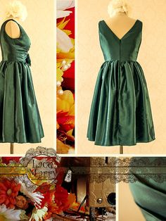 Beautiful Knee Length Taffeta Dress with V-Cut by LaceMarry on Etsy, $79.00
