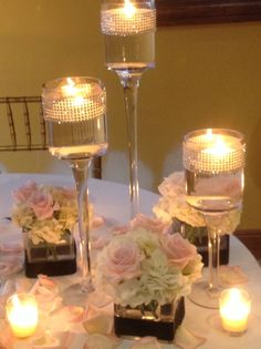 Square Votive Centerpieces With Floating Candles And Pink Petals Pinterest