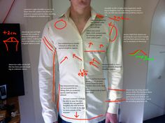 "From Ruben Bakker, a bespoke maker: ""Dear readers, While viewing this post please keep this photo open in a seperate window; it will guide you through the various stages of analyzing a fitting. So today (Saturday of March) I cond. Sewing Men, Sewing Clothes, Custom Clothes, Diy Clothes, Hand Sewing, Tailoring Techniques, Sewing Techniques, Pattern Cutting, Pattern Making"