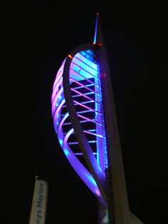 Gunwharf Quays - Night - Spinnaker Tower a view of how colourful the spinaker tower is at night.