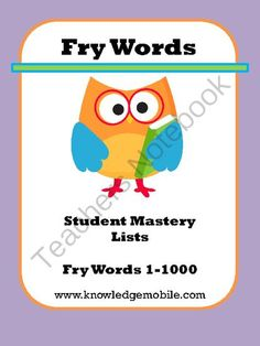 Fry Words - Student Mastery Lists - (Words 1-1000) from Knowledge Mobile on TeachersNotebook.com -  (8 pages)  - Fry Words - Student Mastery Lists (1-1000)