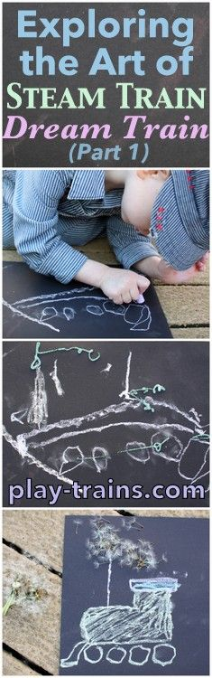 Exploring the Art of Steam Train, Dream Train (Part 1) @ Play Trains!  Drawing a steam engine with chalk to learn about the illustrations in the the author and the illustrator of Goodnight, Goodnight, Construction Sites new book.