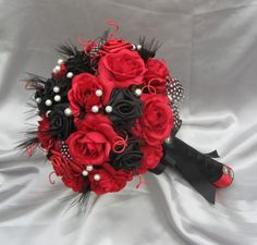HARLEQUIN - Black, Red and white Luxury bridal bouquet misseschainsaw