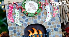 Love this fireplace / stockings made with SVG Cuts file. Must try this !!!