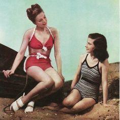 1940s vintage kitting pattern pdf for swimsuit and bikini