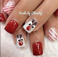 Christmas nail art ideas by brittney nail designs for summer nail designs for short nails 2019 full nail stickers nail art stickers how to apply best nail polish strips 2019 Xmas Nails, Get Nails, Fancy Nails, Christmas Nails, Hair And Nails, Reindeer Christmas, Christmas Ideas, White Reindeer, Valentine Nails