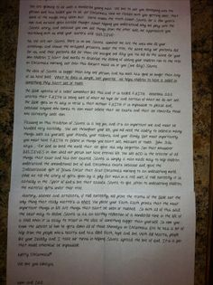 A christian parent's letter to their child when it's time to talk about Santa