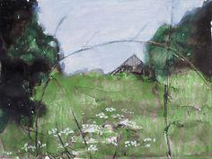 """Mykolé, """"No title 5"""", 2012, 24 x 32 cm, Oil pastels, ink, paper.  Contemporary landscape paintings."""