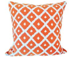 This Richloom Orange Trellis Outdoor Decorative Pillow Cover, by Designer John Wolf, is a Fabulous Modern Lumbar Decorative Pillow, that Presents the ..CARMODY MANGO.. Print Designer Pattern, From Richlooms Solarium Collection.  This Pattern Features a Large Scale Off White / Cream Trellis / Fretwork Geometric Design, Against an Orange / Mango Background, with the Same Fabric on Both Sides.  The Material for this Stunning Trendy Throw Pillow is 100% Spun Polyester Indoor / Outdoor Fabric…