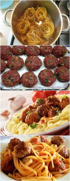 Delicioso TALHARIM COM ALMONDEGAS RECHEADAS...VEJA AQUI>>>Em uma tigela, misture a carne moída, o pó para creme de cebola,  #receita#pizzadecalabresa#paodecalabresa#massas#torta#lanches#salgados#hamburgueres#lasanha#macarrao#pao Food And Drink, Pizza, Beef, Ethnic Recipes, Health, Rose, Fit, Minced Meat Dishes, Beef Macaroni