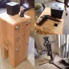 """""""My stake anvil/bick setup. Glued and bolted Doug Fir, with a piece of 1 inside square tubing set in to take hardie tools. The anvil is from…"""" Metal Working Tools, Metal Tools, Metal Projects, Welding Projects, Blacksmithing Knives, Welding Shop, Blacksmith Forge, La Forge, Blacksmith Projects"""