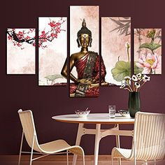 5 Panel Abstract Printed Buddha Painting Buda Canvas Wall Art Buddhism Home Decor Buda Cuadros Picture For Living Room FramedWith Inner Wood Frame Ready To Hang Directly EMS68 Working Day XYJ001 * Be sure to check out this awesome product.