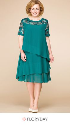 Solid hollow out short sleeve knee-length A-line dress, plus size, fashion style, preorder. Mother Of Bride Outfits, Frock Fashion, Vetement Fashion, Sequin Party Dress, African Fashion Dresses, Buy Dress, Swing Dress, Plus Size Dresses, Evening Dresses