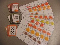FREE Autumn-themed ten frames and cards!  One set numerals, one set dice, and one set tally marks :-)