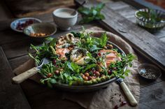 Smoked Trout Kale Salad with Halloumi and Tahini Dressing