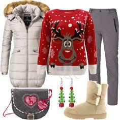 Ecco un outfit pensato per trascorrere qualche giorno in montagna: piumino beige, cappuccio con bordo in pelliccia, zip, tasche, abbinato a pantalone da sci grigio, linea diritta, tasche. Bellissimo maglione rosso, in fantasia dai toni natalizi. Stivale beige imbottito con pelliccia impermeabile, borsa a tracolla grigia, con deliziose decorazioni, orecchini pendenti a forma di albero di Natale.