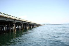 Sandpoint Long bridge crosses Lake Pend Oreille, Sandpoint, Idaho - The Pend Oreille River is wide and deep, but nothing compares to the open waters of Lake Pend Oreille. With 148 square miles, 111 miles of coastline, and over 50 miles from tip to tip, there are few lakes in the U.S. that are this large and this uncrowded.   Have travelled across this many times during my childhood. When you're a child it seems like forever to make it across!!