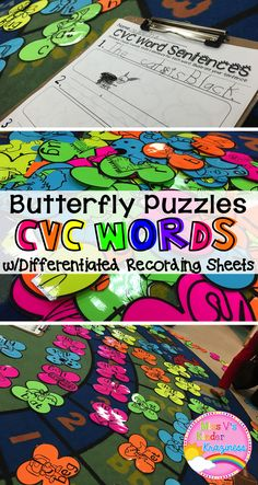 CVC Word Puzzles-A Spring/Butterfly Literacy Center with Differentiated Recording Sheets