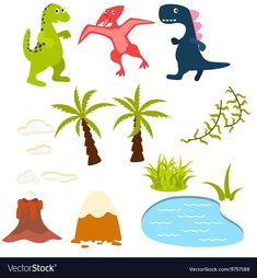 Set of cartoon dinosaur clipart vector image on VectorStock Vector Clipart, Vector Free, Cartoon Dinosaur, Volcano, Palms, Adobe Illustrator, Party Themes, Resume, Kids Outfits