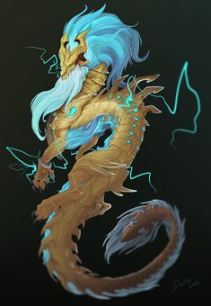 [Champion Concept] Ao Shin - The Storm Dragon Dragon Rpg, Fantasy Dragon, Fantasy Art, League Of Legends Characters, Lol League Of Legends, Fantasy Creatures, Mythical Creatures, Mythological Creatures, Shadow Wolf