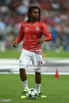Bayern Munich's Portuguese midfielder Renato Sanches warms up prior to the Champions League group D football match between Bayern Munich and FC...