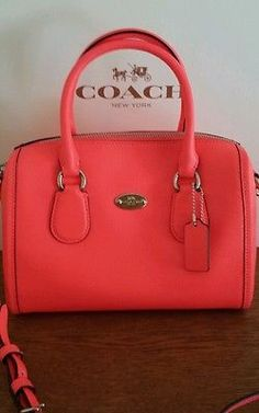 COACH  NWT MINI BENETTE Satchel Crossbody in Neon Pink F34697 Spring Collection