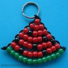 4 Strand Hunter Green Suede Laced with Black and Silver Pony Beads Woven Hand Made Keychain