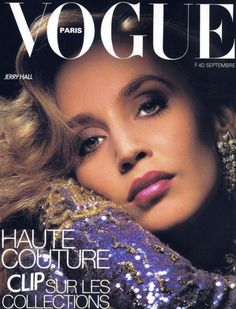 Vogue UK May, July and November by Norman Parkinson. Vogue UK by Norman Parkinson. Vogue UK July by Barry Lategan. Vogue Italia December by Peter Lindbergh. Vogue Paris September by Albert Watson. Vogue Magazine Covers, Fashion Magazine Cover, Fashion Cover, Vogue Covers, Jerry Hall, Vogue Paris, Vogue Uk, Lauren Hutton, Grace Jones